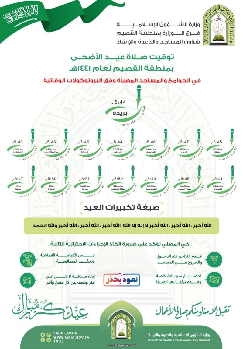 فرع وزارة الشؤون الإسلامية والدعوة والإرشاد بالقصيم يجهز  1156 جامعًا ومسجدًا إضافيًا لإقامة صلاة عيد الأضحى لعام 1441