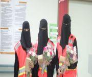فريق التطوع النسائي بهيئة الهلال الأحمر بالقصيم في زيارة لمرضى الاقسام النسائية