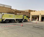 مدني بريدة يباشر حادث حريق ثلاث محلات  وسط مدينة بريدة ( الجردة )